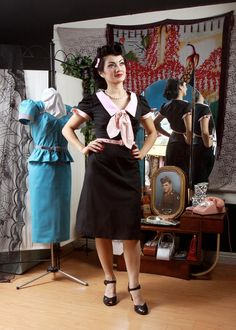 Pinup Girl Rockabilly Clothing Dress Evelyn Black Pink Sailor Lindy Hop CLEARANCE. $80.00, via Etsy.