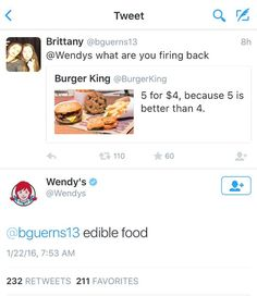 Wendy's twitter account is notorious for being savage. Here are 16 of their best tweets to bring a laugh to your day. Stupid Funny Memes, Funny Relatable Memes, Funny Pins, Funny Stuff, Wendy Tweets, Wendy Roasts, Wendys Twitter, Satire, Best Tweets