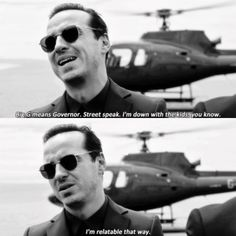 """Big G means Governor. Street speak. I'm down with the kids, you know"" - Jim Moriarty's BIG entrance #Sherlock #IWantToBreakFree"
