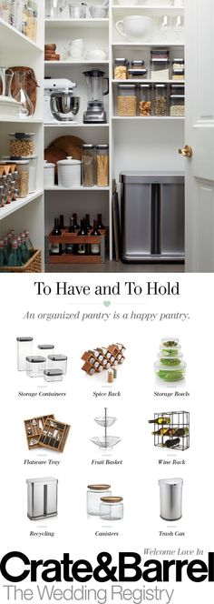 Pantry organization has never been easier with kitchen storage containers that fit everything from equipment to baking essentials. Create your registry today and build the storage pantry of your dreams.