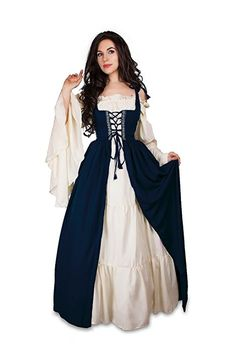 Amazon.com: Reminisce Renaissance Medieval Irish Costume Over Dress & Cream Chemise Set (2XL/3XL, Hunter Green): Clothing