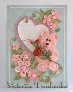 Valentine Quilling Card - Valentine's Day quilling Card - Anniversary quilling Card - Love quilling card - Cute pink bear