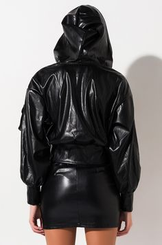 Faux leather bomber jacket with cargo pockets by AKIRA. Catsuit, Akira, Leather Fashion, Barefoot, Snug Fit, Bomber Jacket, Leather Jacket, Rear View, Womens Fashion