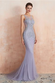 Mermaid Party Dresses Complicated Beaded with Lavender Tulle Sheer Neckline - LeShine Bridal - Prom Dresses Formal Evening Party Cocktail Homecoming Dresses - Plus size dresses - Lavender Prom Dresses, Purple Evening Dress, Long Evening Gowns, Formal Evening Dresses, Formal Prom, Dress Formal, Long Formal Gowns, Shrug For Dresses, Dresses Short