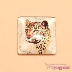 Leopárd mintás, négyzet alakú, 25 mm-es üveglencse • Gyöngyvásár.hu Tattoos, Animals, Africa, Tatuajes, Animales, Animaux, Tattoo, Tattoo Illustration, Animal