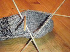 HÆLFELLING Her er ei oppskrift i tekst og bilder på hvordan man feller til hæl på lester. Knitted Hats, Diy And Crafts, Crafty, Knitting, Crochet, Pattern, Tips, Fashion, Sneaker