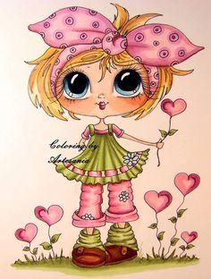 INSTANTÁNEA descargar Digital Digi sellos grande ojo grande cabeza muñecas Bestie img505 jardín de amor mis Besties por Sherri Baldy