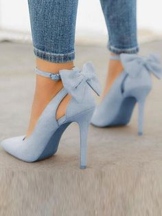 9c02894f878 Blue Point Toe Stiletto Bow Fashion High-Heeled Shoes Blue Heels Outfit