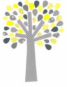 Yellow and Grey Tree Nursery Artwork Print // Baby Room Decoration // Kids Room Decoration // Yellow and Grey Nursery // Gifts Under 20 on Etsy, $14.00