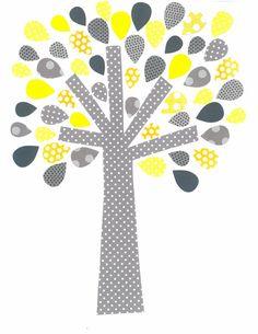 Yellow and Grey Tree Nursery Artwork Print // Baby Room Decoration // Kids Room Decoration // Yellow and Grey Nursery // Gifts Under 20 on Etsy, $14.00