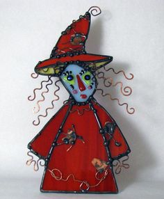 Stained Fused Glass Kitchen Witch Copper Art Doll by Groovyglass, $116.00