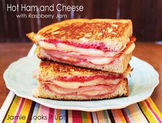 Hot Ham and Cheese Sandwich with Raspberry Jam from Jamie Cooks It Up!
