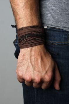 Wrap Bracelet - Brown with Black Print