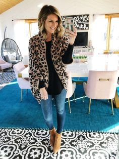 05df6cabe9 Shop the look from Living in Yellow on ShopStyle Leopard Cardigan