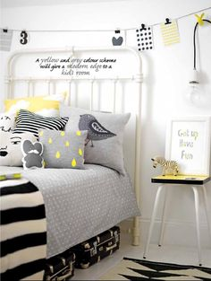Black, grey and yellow bedroom (Photography by Max Attenborough; Styling by Charlotte Love) Colors for guest room