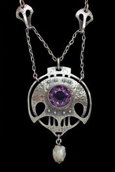 MURRLE BENNETT & CO. Jugendstil Necklace. Silver Gold Amethyst Pearl. Pendant: H: 5 cm (1.97 in)  W: 3 cm (1.18 in)   Necklace: L: 46 cm (18.11 in)   Marks: 'MBC' monogram & '950'  Anglo-German, c.1900