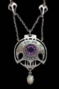 MURRLE BENNETT & CO. Jugendstil Necklace. Silver Gold Amethyst Pearl. Pendant: H: 5 cm (1.97 in)  W: 3 cm (1.18 in)   Necklace: L: 46 cm (18.11 in)   Marks: 'MBC' monogram & '950'  Anglo-German, c.1900