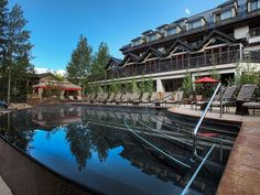 """The infinity pool at Vail Cascade Resort & Spa  Vail, Colorado      What You'll See: The heated, saline pool is the only infinity-edge pool in Vail that overlooks Gore Creek.    What To Do: Two cabanas are available (first-come, first-serve), and a pool bar pours a variety of beverages. On summer weekends, catch a complimentary flick poolside with the """"dive-in movies"""" program"""