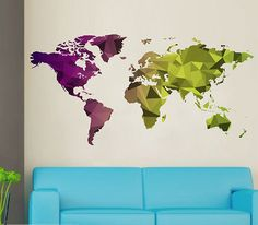 kcik1636 Full Color Wall decal world map abstract living room bedroom