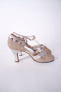 Vintage 1920's Art Deco Silver Leather and Cloth Dancing Shoes
