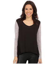 Calvin Klein Jeans Long Sleeve Woven Knit Mix Top Black - 6pm.com
