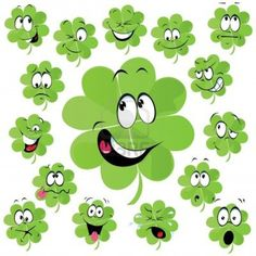 Four leaf clover cartoon with many facial expression - symbol of happiness Four Leaf Clover Drawing, Small Cottage Designs, Nautical Wall Decor, Four Leaves, Facial Expressions, Emoticon, Stone Art, Cute Drawings, Preschool Activities