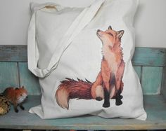 Fox Illustration Eco Tote Bag ~ 100% Cotton Long Handles