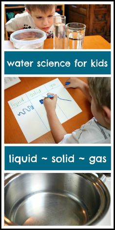 Simple science for kids to explore liquid, solid and gas. De tre formerna av vatten experiment