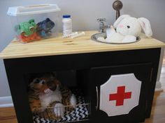 Wee Kate loves animals, so this Play Vet Office by ReFABedFurnishings on Etsy seemed oh so appropriate.