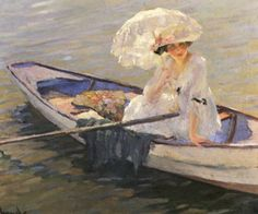 Edward Cucuel (American artist, 1879-1954) Lady in a Rowboat