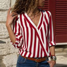Women Long Sleeve Shirts Cross V Neck Blouse Striped Shirt Office Lady Blouses T. - - Women Long Sleeve Shirts Cross V Neck Blouse Striped Shirt Office Lady Blouses Tops Camisas Mujer Source by Long Sleeve Tops, Long Sleeve Shirts, Stripes Fashion, Long Blouse, Look Chic, Casual Tops, Casual Shirts, Shirt Blouses, Blouses For Women