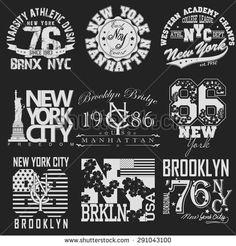 New York City Typography Graphics logo set, T-shirt Printing Design; NYC original wear, Vintage Print for sportswear apparel - vector illustration