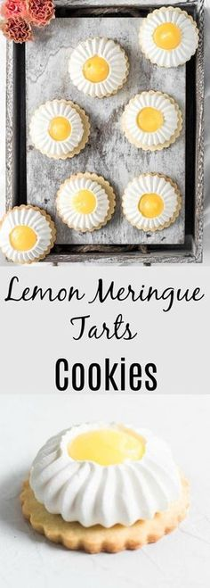 Lemon Meringue Cookie Tarts are the perfect combination of sweet and sour, soft and crunchy and is delicate but yet fierce. Lemon Meringue Cookie Tarts are the perfect combination of sweet and sour, soft and crunchy and is delicate but yet fierce Cookie Desserts, Just Desserts, Cookie Recipes, Delicious Desserts, Dessert Recipes, Cupcake Recipes, Lemon Meringue Cookies, Lemon Meringue Tart, Sugar Cookies