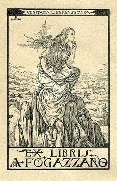 Ex Libris Fogazzaro. Book Illustration Stamp