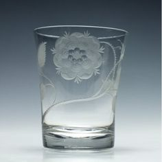 Large Jacobite engraved 18th century glass tumbler c1750