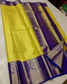 Mysore Silk Saree, Silk Saree Kanchipuram, Pure Silk Sarees, Cotton Saree, Yellow Saree Silk, Saree Tassels, Half Saree Designs, Wedding Silk Saree, Gold Pattern