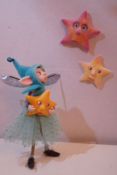 "OOAK poseable polymer clay art doll "" catch a falling star "" by DinkyDarlings"