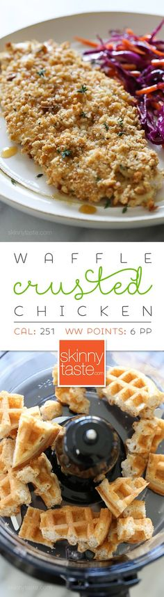 Waffle Crusted Chicken with Spicy Maple Sauce – a healthier twist on chicken and waffles!