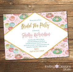 Bridal Tea Party Invitation, Bridal Tea Shower, Tea Party Invitation, Gold Glitter, Pink Mint Teal, Bridal Shower Invite (PRINTABLE FILE) by InvitingDesignStudio on Etsy