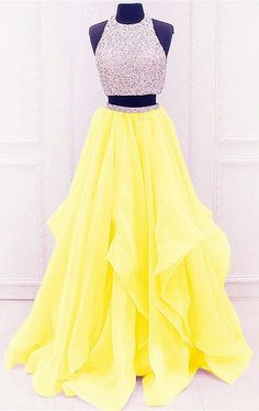 Sequined Beaded Top Organza Layered Prom Dresses Two Piece - Sequined Beaded Top Organza Layered Prom Dresses Two Piece Yellow Prom Dresses,Two Piece Prom Piece Prom Dresses,Sparkle Prom Dresses - Cute Prom Dresses, Grad Dresses, Pretty Dresses, Homecoming Dresses, Sexy Dresses, Beautiful Dresses, Yellow Prom Dresses, Mermaid Dresses, Banquet Dresses