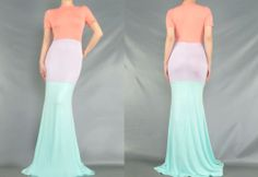NEW Spring Pastel Colorblock Maxi Dress in Brown Sugar Collection