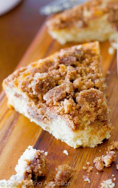 A soft, tender, easy-to-make coffee cake, heavy on the crumbs!