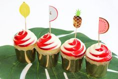 Gold Cupcake Crown with fruit picks are a must for Summer Parties!!  Check out our Must Have Summer Party Supplies at the Via Blossom Blog!