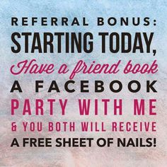 Book a facebook party and share Jamberry with all of your friends! Its fun and so easy! You invite your friends and I'll do the rest! Play games, win prizes! Get FREE jams! Https://lovemyjamwraps12.jamberry.com