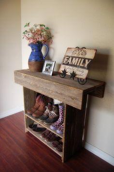 Madera Mesa consola.  Madera Way entrada o Wall Tabla 36 x 12 x 30 pared corredor de la tabla.  Muebles de madera.  Rústico Tabla de madera