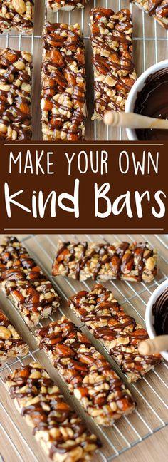 Recipes Snacks Bars Homemade Kind Bars - Eat Yourself Skinny Vegan Healthy Snacks, Healthy Granola Bars, Healthy Bars, Protein Snacks, Healthy Recipes, Kind Granola Bars, Granola Bar Recipes, Healthy Eating, Healthy Cereal Bars