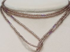 Seed bead lariat necklace, purple, L57. $ 48.00, via Etsy.