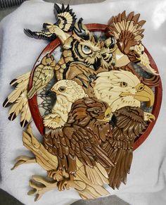 """Bird's of prey intarsia based on Jody Bergsma's painting """"Sky Kings"""""""