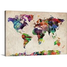 Great Big Canvas World Maps by Michael Tompsett Gallery Graphic Art on Wrapped Canvas