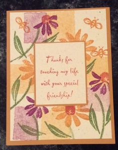 Entered in simonsaysstampblog.com Monday Summer Flower Challenge.  Stamped square shadows and flowers in mustard, olive and purple. Stamped and matted text. Glued all to mustard card.